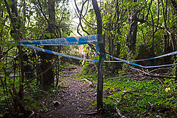 © Licensed to London News Pictures 27/09/2021.<br /> Biggin Hill, UK, A large police cordon is in place around woodland and farmland in Biggin Hill, South East London. Unconfirmed local reports suggest a body has been discovered in a field. A police forensic tent has been in place overnight with forensic officers arriving on scene this morning. Photo credit:Grant Falvey/LNP