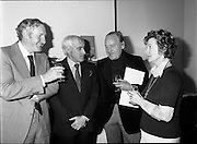 25/07/1977<br /> 07/25/1977<br /> 25 July 1977<br /> ROSC '77 Press Reception at Peter Owens Ltd. <br /> At the press reception held at Peter Owens Ltd., in Dublin to announce details of the forthcoming ROSC '77 were (l-r): William O'Loghlen, Director Bank of Ireland Ltd., one of the sponsors; Mr. Peter Owens, Managing Director Peter Owens Ltd.; Dr. Michael Scott, Chairman ROSC '77 and Dr. Marie dePaor, Archaeologist.