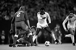 Pele (10), New York Cosmos, takes the ball past Laszlo Harsanyi (2), NASL All Stars