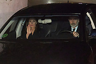 King Felipe VI of Spain, Queen Letizia of Spain attends Princess PIlar Borbon funeral chapel  installed in the Gomez-Acebo house on January 8, 2020 in Madrid, Spain