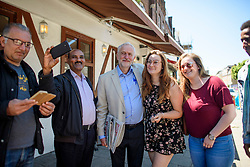© Licensed to London News Pictures. 10/06/2017. London, UK. Leader of the Labour Party JEREMY CORBYN is greeted by local residents and supporters near his London home. The Labour party made significant gains earlier this week in a general election The Conservative Party were expected to win comfortably. Photo credit: Ben Cawthra/LNP