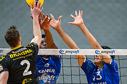 Jeroen Rauwerink of Dynamo,Jerome Cross of Lycurgus, Hossein Ghanbari of Lycurgus in action during the second final league match between Amysoft Lycurgus vs. Draisma Dynamo on April 24, 2021 in Groningen.