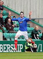 Football - Scottish Premier League - Hibs vs Rangers<br /> <br /> Rangers Kyle Lafferty celebrates Rangers opening goal