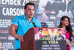 LOS ANGELES, California/USA (Friday, Aug 23 2013) - Pro boxer Julio Cesar Chavez Jr (46-1-1, 32 KOs) attends the press conference at the Millenium Biltmore Hotel to announce the Chavez jr vs Vera fight next September 28 at the StubHub Center in Carson, CA. Los Angeles,CA USA. 29th August 2013. Fees must be agreed for image use. Byline, credit, TV usage, web usage or linkback must read: © SILVEXPHOTO.COM.