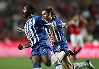 LISBOA 17 OCTOBER  2004: (L to R) MCCARTHY #77 celebrate the goal whit is team mate MANICHE #18, in the, 6¼ leg of the Super Liga, season 2004/2005, match SL Benfica v  FC Porto, held in Luz stadium, 17/10/2004  19:45<br />(PHOTO BY: NUNO ALEGRIA / AFCD)
