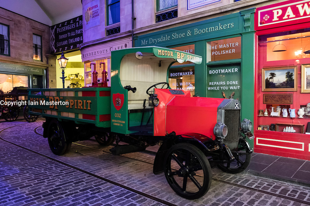 Caledon flatbed delivery truck on display in Main Street at Riverside transport museum in Glasgow, Scotland, united Kingdom