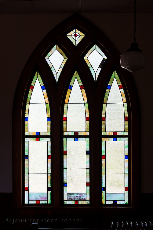 """Window 7 on plan. 70"""" wide x approx. 103"""" tall including trim.<br /> Tremont Baptist Church, Seal Cove, Maine."""