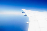Wing of a commercial jet in flight