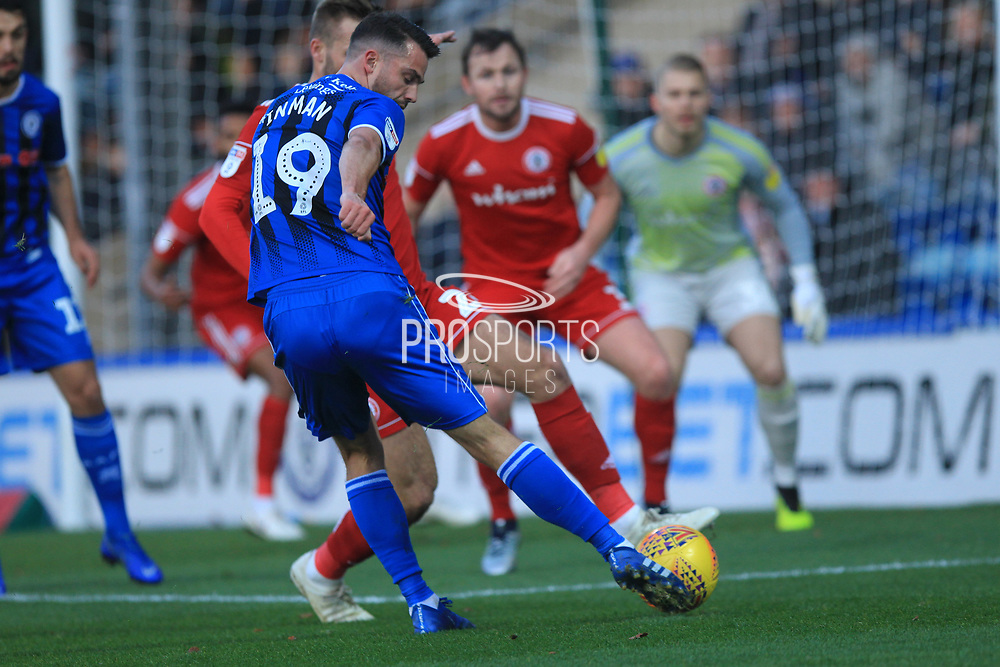 Bradden Inman shoots during the EFL Sky Bet League 1 match between Rochdale and Accrington Stanley at Spotland, Rochdale, England on 24 November 2018.