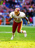WASHINGTON, DC-UNDATED:  Charles Mann #71 of the Washington Redskins in action against the Los Angeles Rams during an NFL game at RFK Stadium in Washington, DC.  Mann played for the Redskins from 1983-1993.  (Photo by Ron Vesely)