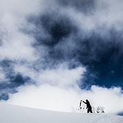 Owen Dudley pulls his skin in the Mount Baker backcountry Washington.