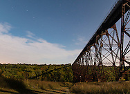 Cornwall, New York -  The full moon shines by the Moodna Viaduct railroad trestle  on Sept. 27, 2015.