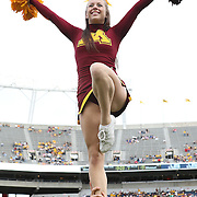 ORLANDO, FL - JANUARY 01:  A Minnesota cheerleader performs  during the Buffalo Wild Wings Citrus Bowl against the Missouri Tigers at the Florida Citrus Bowl on January 1, 2015 in Orlando, Florida. (Photo by Alex Menendez/Getty Images) *** Local Caption ***