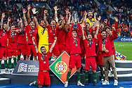 Portugal celebrate winning the UEFA Nations League match between Portugal and Netherlands at Estadio do Dragao, Porto, Portugal on 9 June 2019.