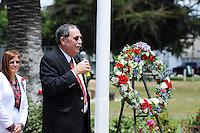 Mayor Joe Gunter speaks during a Memorial Day ceremony on Monday at the World War II Memorial Rose Garden in Salinas.