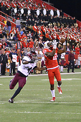 15 October 2016:  Roman Tatum waits to get hold of Christian Gibbs till the pass is caught.  NCAA FCS Football game between Southern Illinois Salukis and Illinois State Redbirds at Hancock Stadium in Normal IL (Photo by Alan Look)
