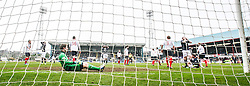 Falkirk's keeper Michael McGovern after Dundee's Craig Beattie misses a shot.<br /> Dundee 0 v 1 Falkirk, Scottish Championship game played today at Dundee's Dens Park.<br /> © Michael Schofield.