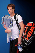 Brisbane, Australia, December 30: Andy Murray of Britain walks onto the court for a training session at Pat Rafter Arena ahead of the 2012 Brisbane International Tennis Tournament in Brisbane, Australia on Friday December 30th, 2011. (Photo: Matt Roberts/Photo News)