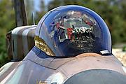 Israeli Air Force (IAF) F-16D Fighter jet closeup of cockpit