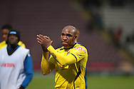 Barry Hayles (Chesham) applauds the Bradford fans at the end of the game during the The FA Cup match between Bradford City and Chesham FC at the Coral Windows Stadium, Bradford, England on 6 December 2015. Photo by Mark P Doherty.