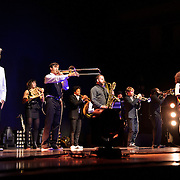 BETHESDA, MD - September 30th, 2012 - David Byrne (far left) and St. Vincent (far right) perform at the Strathmore Music Hall as part of their joint tour. The pair released a collaborative album, Love This Giant, earlier this month. (Photo by Kyle Gustafson/For The Washington Post)