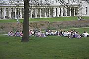 Children eating picnic lunch, Greenwich, London, England