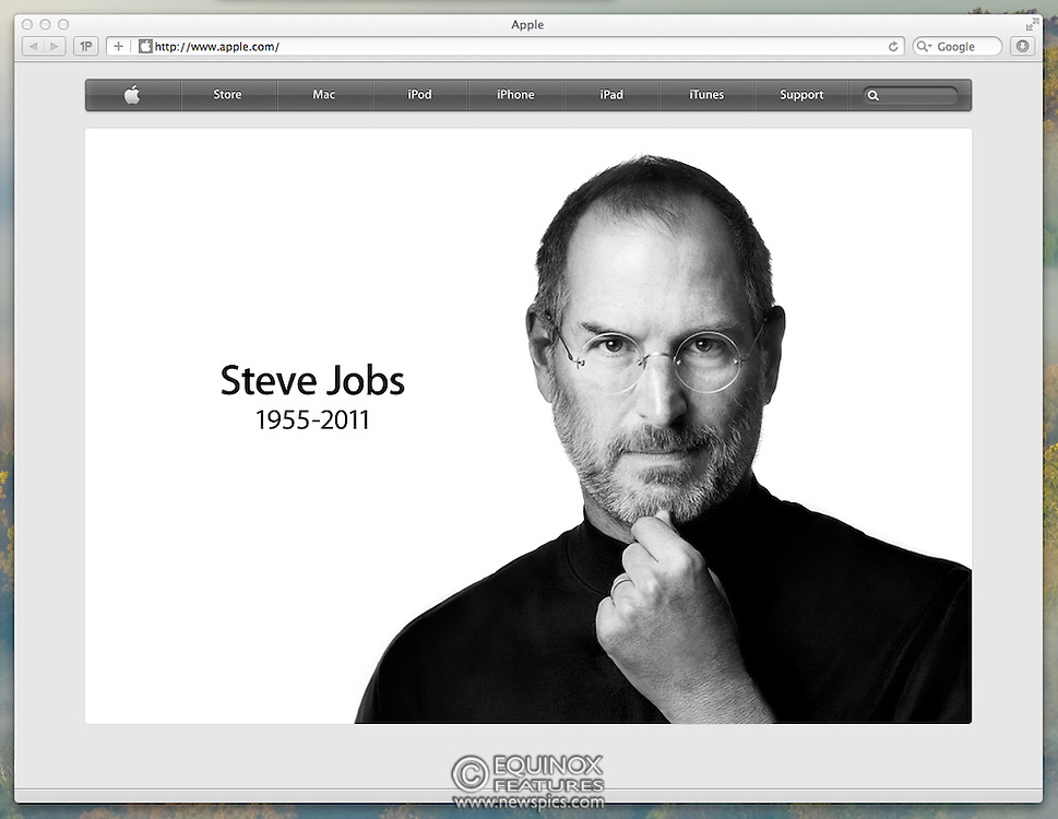 London, United Kingdom - 6 October 2011.Apple Inc's website www.apple.com pays tribute to Apple's co-founder Steve Jobs who died 20111005 at the age of 56 after a long battle with pancreatic cancer..Notes: Image is reproduction of website. See special instructions. - Supplied By: Supplied by Equinox News Pictures Ltd. +448700 780000 - Contact: Equinox Features - Date Taken: 20111006 - Time Taken: 023830+0000 - www.newspics.com
