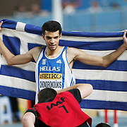 Greece's gold medal winner Dimitrios Chondrokoukis clears the bar during Men's High Jump final during the IAAF World Indoor Championships at the Atakoy Athletics Arena, Istanbul, Turkey. Photo by TURKPIX