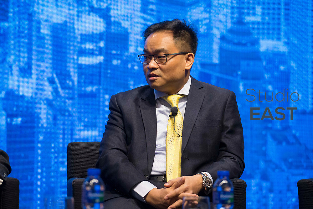 Panel discussion with moderator John Swolfs - Asia & ETFs - A Look at the Changing ETF Landscape during the Inside ETFs Asia conference in the Grand Hyatt hotel, Hong Kong, China, on 09 November 2017. Photo by Vivek Prakash