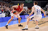 Real Madrid's Jaycee Carroll and EA7 Emporio Armani Milan's Mantas Kalnietis during Turkish Airlines Euroleage match between Real Madrid and EA7 Emporio Armani Milan at Wizink Center in Madrid, Spain. January 27, 2017. (ALTERPHOTOS/BorjaB.Hojas)