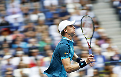 NEW YORK, Sept. 11, 2017  Kevin Anderson of South Africa hits a return during the Men's singles final match against Rafael Nadal of Spain at 2017 US Open in New York, the United States, Sept. 10, 2017. Rafael Nadal won 3-0 to claim the title. (Credit Image: © Qin Lang/Xinhua via ZUMA Wire)