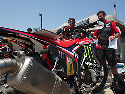 January 5, 2019 - Lima, Lima, Peru - Honda 47, Kevin Benavides from Argentina,  Monster Energy Honda team, passing the technical scrutineering. The Dakar rally runs this year 100% in Peru. (Credit Image: © Carlos Garcia Granthon/ZUMA Wire)