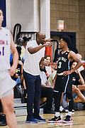 NORTH AUGUSTA, SC. July 10, 2019. Hakim Byrd 2020 #3 of Team Final 17U talks to his coach at Nike Peach Jam in North Augusta, SC. <br /> NOTE TO USER: Mandatory Copyright Notice: Photo by Alex Woodhouse / Jon Lopez Creative / Nike