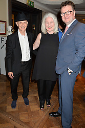 Left to right, DAVID REMFRY, CAROLINE HANSBERRY and EWAN VENTERS at a the Fortnum's X Frank private view - an instore exhibition of over 60 works from Frank Cohen's collection at Fortnum & Mason, 181 Piccadilly, London on 12th September 2016.