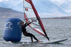 Day 1 of the RYA Youth National Championships 2013 held at Largs Sailing Club, Scotland from the 31st March - 5th April. ..926, Kieran MARTIN, Carsington, RSX...For Further Information Contact..Matt Carter.Racing Communications Officer.Royal Yachting Association.M: 07769 505203.E: matt.carter@rya.org.uk ..Image Credit Marc Turner / RYA..