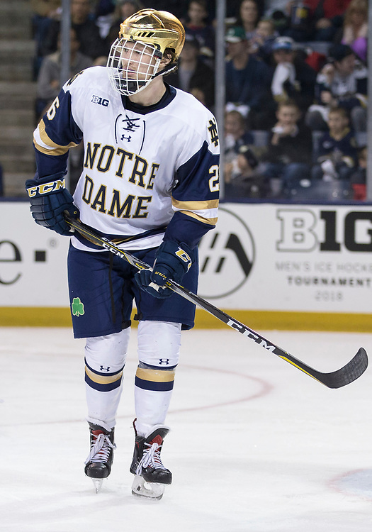 March 10, 2018:  Notre Dame forward Cam Morrison (26) during NCAA Hockey game action between the Notre Dame Fighting Irish and the Penn State Nittany Lions at Compton Family Ice Arena in South Bend, Indiana.  Notre Dame defeated Penn State 3-2.  John Mersits/CSM