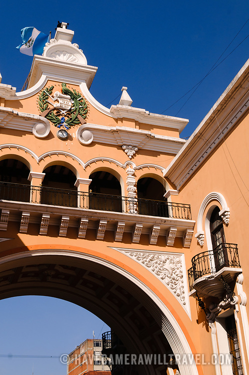 Spanish colonial architecture in downtown Guatemala City, Guatemala.
