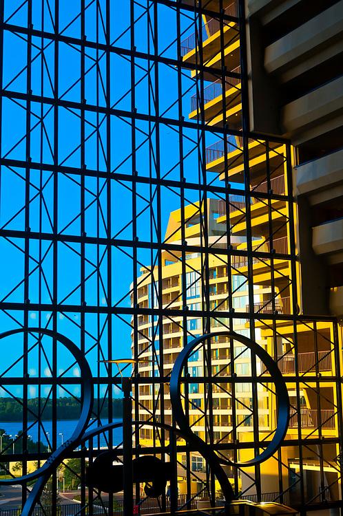 Looking from inside the Contemporary Resort to the Bay Lake Tower, Magic Kingdom, Walt Disney Resort, Orlando, Florida USA