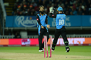Moeen Ali and Ben Cox of Worcestershire Rapids celebrate the wicket of David Wiese of Sussex during the final of the Vitality T20 Finals Day 2018 match between Worcestershire Rapids and Sussex Sharks at Edgbaston, Birmingham, United Kingdom on 15 September 2018.