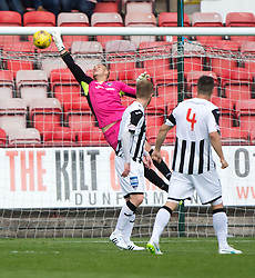 Dunfermline's Sean Murdoch can't stop Cowdenbeath's Patrick Scullion goal. <br /> Dunfermline 7 v 1 Cowdenbeath, SPFL Ladbrokes League Division One game played 15/8/2015 at East End Park.