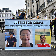 London: Protests for Osman Ahmed and the Martyrs killed by oppressive militia in Sudan at Embassy of