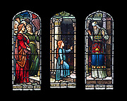 """Based on 'The Presentation of the Virgin at the Temple' by Titian, 1534–1538. <br /> <br /> Window 12 on plan. 55"""" w x 48.5"""" h. inc. wood frame.<br /> <br /> Saint Mary's by-the-Sea, Northeast Harbor, Maine."""