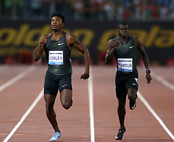 May 31, 2018 - Rome, Italy - Fred Kerley (USA) and Abdalleleh Haroun, (QAT) compete in 400m men during Golden Gala Iaaf Diamond League Rome 2018 at Olimpico Stadium in Rome, Italy on May 31, 2018. (Credit Image: © Matteo Ciambelli/NurPhoto via ZUMA Press)