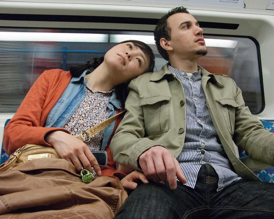 Portrait of a couple on the London Underground