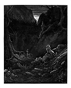 The Lion suddenly confronts Dante From the Divine Comedy by 14th century Italian poet Dante Alighieri. 1860 artwork, by French artist Gustave Dore and engraved by Stephane Pannemaker, from 'The Vision of Hell' (1868), Cary's English translation of the Inferno. Dante wrote his epic poem 'Divina Commedia' (The Divine Comedy) between 1308 and his death in 1321. Consisting of 14,233 lines, and divided into three parts (Inferno, Purgatorio, and Paradiso), it is considered the greatest literary work in the Italian language and a world masterpiece. It is a comprehensive survey of medieval theology, literature and thought. The new non-dialect poetic language Dante created became the basis of modern Italian.