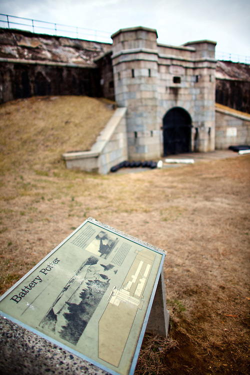 """Battery Potter or """"Gun Lift Battery No.1"""" built in 1892 at Fort Hancock, New Jersey was the world's only disappearing gun battery that used hydraulic elevators to move the guns above a protective parapet wall. Battery Potter was also the first Endicott system battery to be partially armed."""
