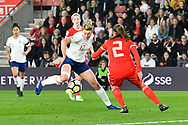 Ellen White (17) of England looks for a way past Loren Dykes (2) of Wales during the FIFA Women's World Cup UEFA Qualifier match between England Ladies and Wales Women at the St Mary's Stadium, Southampton, England on 6 April 2018. Picture by Graham Hunt.
