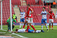 Rochdale attacker Calvin Andrew (9) after scoring an own goal during the EFL Sky Bet League 1 match between Charlton Athletic and Rochdale at The Valley, London, England on 4 May 2019.
