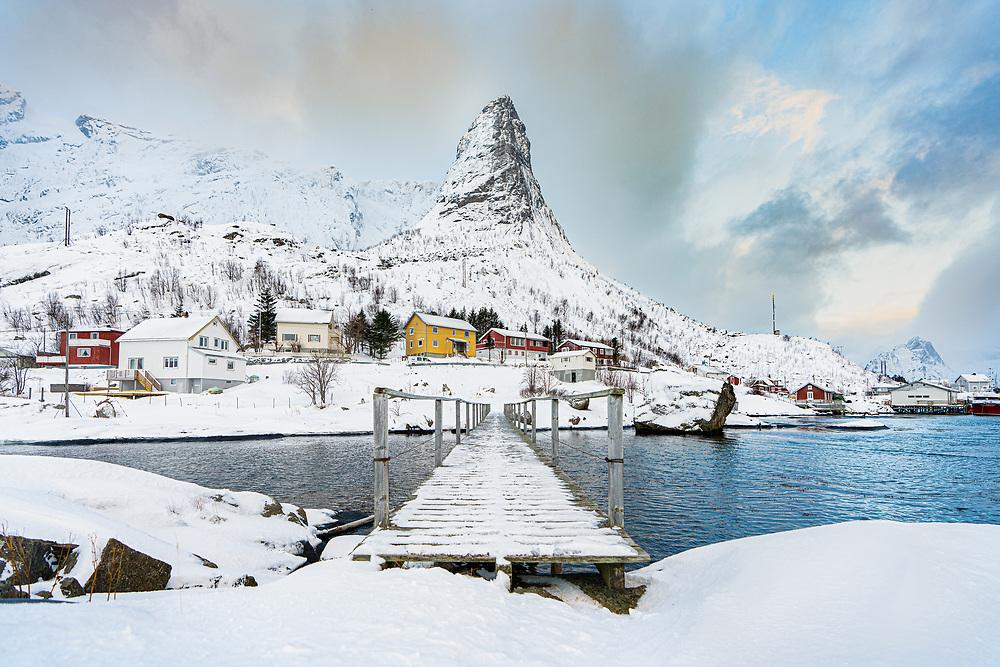 Hammarskaftet mountain in Reine, Lofoten of Northern Norway.
