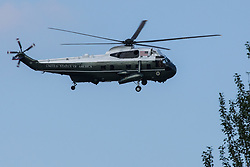 One of President Biden's VH-3D Sea King helicopters, known as Marine One, is pictured landing at Windsor Castle on 13th June 2021 in Windsor, United Kingdom. President Biden and First Lady Jill Biden were welcomed at Windsor Castle by the Queen following the G7 summit with a Guard of Honour followed by afternoon tea.